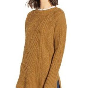 J. Crew Brown Patchwork Cable Knit Sweater